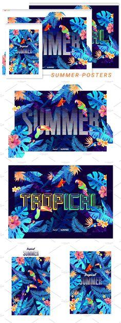Summer Poster, Tropical Design, Postcard Design, Tropical Flowers, Exotic, Illustration, Floral, Flowers, Illustrations