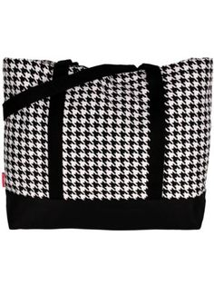 $9.50 Houndstooth Tote Bag with Black Trim