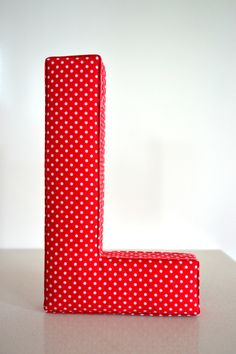 Fabric Letter Personalised Initial Name Wall Hanging in Red Polka Dots - Letter L. $20.00, via Etsy.