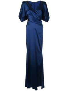 Dark blue Socotra dress from Talbot Runhof featuring a long length, a v-neck, short sleeves and a back zip fastening. Day Dresses, Blue Dresses, Casual Dresses, Casual Outfits, Fashion Dresses, Socotra, 1940s Woman, Talbot Runhof, 1940s Fashion