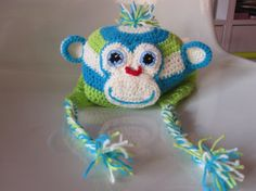 Monkey earflap hat for baby boys or baby girls Made by AnnaSHandMD,