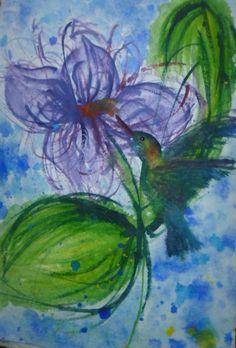 """ Humming Bird "" Watercolor on handmade paper."
