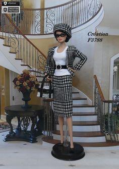 "Robe Barbie "" Christiane "" tenue pour poupée Barbie Silkstone Fashion Royalty Muse f3788"
