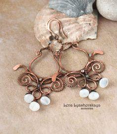 "Earrings ""GENTLE WIND NORTH WIND"" Moonstone (adularia), tourmaline, copper"