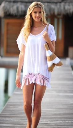 Seafolly White Miami Sky Midi Kaftan - Buy this elegant Beach Coverup at Coco Bay with Next Day Delivery and Free UK Returns/Exchanges Chiffon Shirt, Chiffon Fabric, Sheer Chiffon, Beach Dresses, Sexy Dresses, Kaftan, Bikini Cover Up, Seafolly, Smock Dress