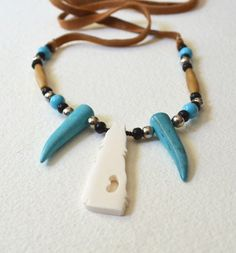 Howling Wolf Turquoise Fangs  Authentic by NativeCraftCanada