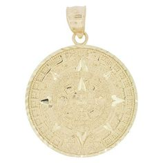Hand crafted aztec calendar ceramic decorative plate products 14k yellow gold aztec calendar medallion pendant charm round sparkly cuts 30mm p030 aloadofball Image collections