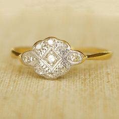 1920's Art Deco Diamond Platinum and 18k Gold Ring, Etsy shop, Luxe Deluxe