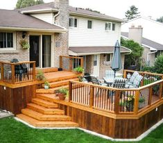 See how building your own easy deck in your backyard can be a do it yourself project with a little planning and inspiration. Get 40 design ideas for turning your deck or patio into an outdoor retreat because the best . Patio Plan, Deck Plans, Cool Deck, Diy Deck, Tiered Deck, Tiered Garden, Diy Terrasse, Deck Builders, Backyard Patio Designs