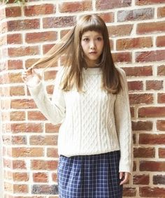 White cable sweater / ShopStyle(ショップスタイル):