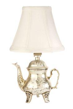 Retro Teapot Design Mini Accent Lamp with White Shade
