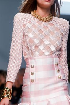 Balmain detailing S/S 2014 pink and white check skirt and top with gold chain necklace
