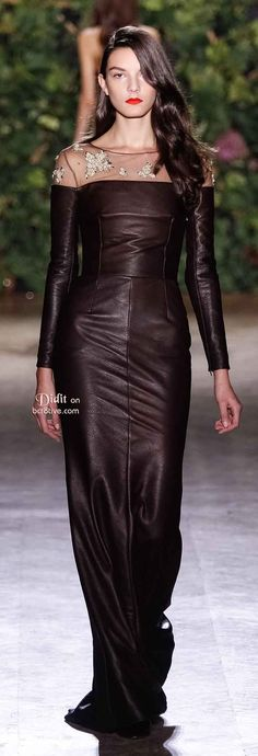 Chocolate Leather Dress With Lace Neckline.  Didit Hediprasetyo Spring 2014 Haute Couture