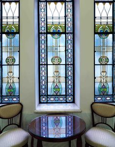 Beautiful stained glass windows in our hotel hallway.