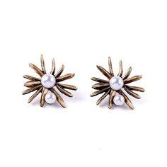 Goldtone & Faux Pearl Flower Stud Earrings