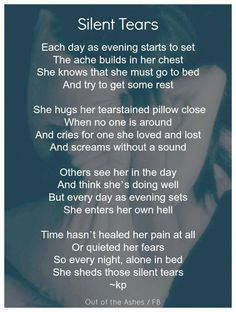 This reminds me of my Mom, who told me years after my Dad died, that she still cries every night.  dsd