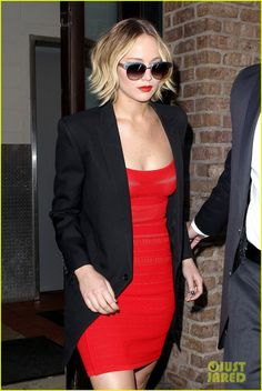 Jennifer Lawrence hits the town in a tight red ensemble on Wednesday afternoon (November 12) in New York City.