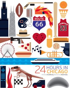 24 Hours in Chicago, Illinois graphic design art poster by Patrick Hruby