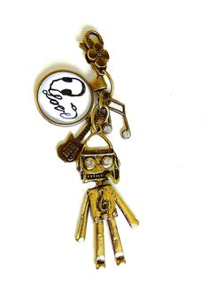 I love music - gold bags charms, key ring, note, rhinestone, guitar, robot £8.00