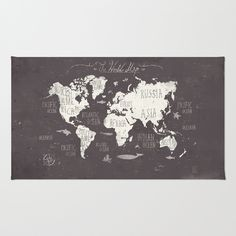 Buy Area & Throw Rugs with design featuring The World Map by Mike Koubou and adorn your home with both style and comfort. Available in three sizes (2' x 3', 3' x 5', 4' x 6').