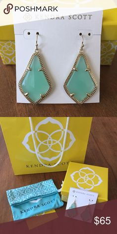 Kendra Scott Alex Earrings Brand New Kendra Scott Alex Earrings.  Gold and turquoise.  Never worn, come with dust bag, box, gift bag. Kendra Scott Jewelry Earrings