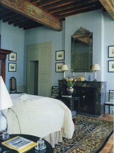 Rustic Style cottage bedroom featured in World of Interior interior design magazine Blue Rooms, Blue Bedroom, Bedroom Decor, Blue Walls, 1920s Bedroom, Bedroom Bed, Bed Room, Master Bedroom, Interiors Magazine