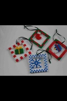 Cute Christmas decorations made out of hama beads