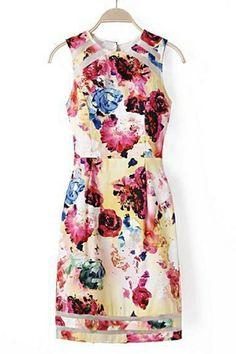 Floral Organza Sleeveless Dress | OASAP.com