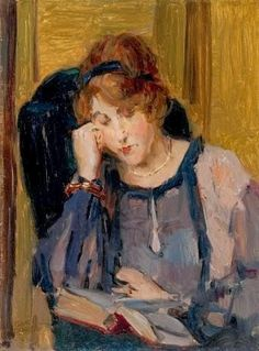 "Isaac Israëls (Dutch, 1865 - 1934) ""Portrait of a reading lady"""