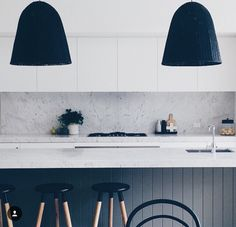 Kitchen island, black panelling