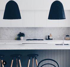 Kitchen island, black panelling
