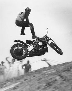 "Sam Arena gets the buck during his final run at the Modesto Hillclimb Chapionships in 1948.  Sam was riding a Tom Sifton prepared 80"" rocketship.  Epic photo courtesy of Bob Pilgrim."