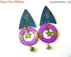 Holiday Sale Vintage Bohemian Earrings - 80s Earrings - Chunky Boho Earrings - Boho chic - 80s Jewelry - 1980s Earrings