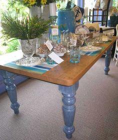 FARMHOUSE TABLE: Beautiful 100 Year Old Reclaimed Barnwood Top On This 7ft. Farmhouse  Table