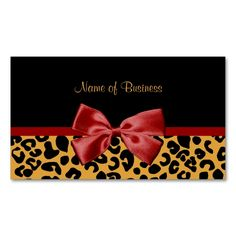 Trendy Black And Gold Leopard Print Red Ribbon Double-Sided Standard Business Cards (Pack Of 100). This is a fully customizable business card and available on several paper types for your needs. You can upload your own image or use the image as is. Just click this template to get started!