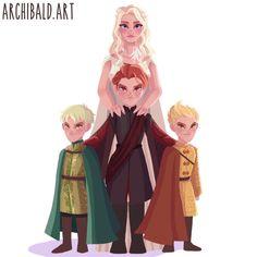 Daenerys Targaryen and her dragons in human form