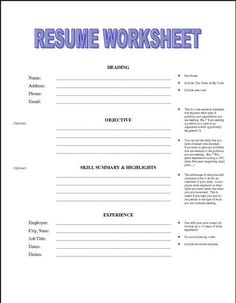 resume building worksheet for high school students 1000