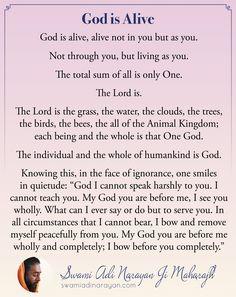 God is Alive by Swami Adi Narayan Ji Maharajh #God #GodisAlive #LoveGod #SwamiAdiNarayan Spiritual Teachers, Spiritual Wisdom, Spirituality, Lord, Inspirational, Spiritual, Inspiration