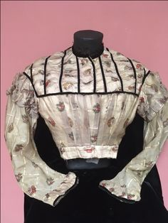 Barred wool barege bodice with printed clusters of flowers velvet ribbon trim. Cotton muslin lining. Cotton Muslin, Velvet Ribbon, Historical Society, Bodice, Wool, Printed, Flowers, Fashion, Moda
