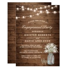 Baby's Breath Mason Jar Rustic Engagement Party Card - click to get yours right now!
