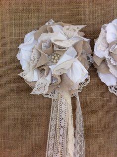 Set of 2/ Linen & Lace/ Ivory Cream Khaki Tan/ by DolledandDazzled