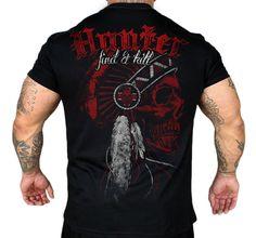 Koszulka 'Hunter' - tył ---> Streetwear shop: odzież uliczna, kibicowska i patriotyczna / Przepnij Pina!