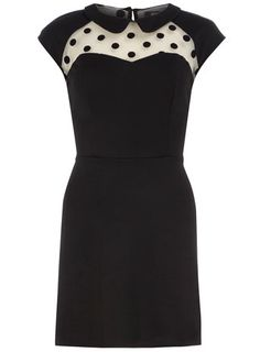 Black mesh polka dot dress