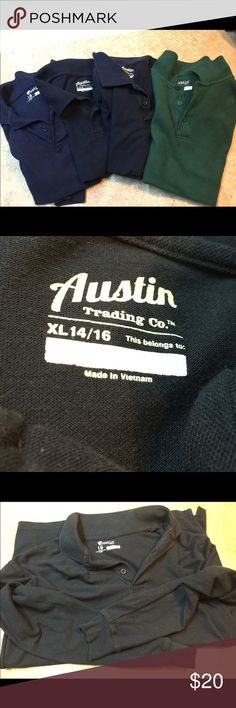 Austin Polo These are 5 Austin they come from Academy polo shirts the one that is navy blue is a long sleeve they were used as uniform shirts Austin Tops Tunics