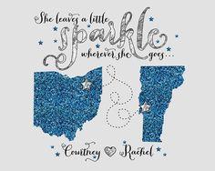Gift for Friend, Best Friends Long Distance -  Custom Map, Stars, Glitter, She leaves a little sparkle wherever she goes, BFF Bestie