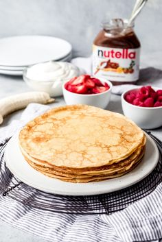 If you've ever wanted to know how to make crepes, this easy Crepes Recipe makes the most wonderfully thin, delicate French crepes. Crepe Recipe With Pancake Mix, Crepes With Pancake Mix, Easy Crepe Recipe, Pancakes, Sweet Breakfast, Breakfast Dessert, Breakfast Recipes, Crapes Recipe, Breakfast