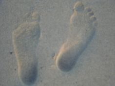 My sons footprints he sent me from Beautiful Sunny California Surf Beach