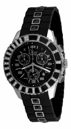 Christian Dior Women's CD11431ER001 Christal Chronograph Diamond Black Dial Watch Christian Dior. $2092.11. Unidirectional rotating bezel. Water-resistant to 165 feet (50 M). Black dial. Stainless steel round case, chronograph (hours, minutes, seconds), date. Black rubber strap with sapphires. Save 47%!