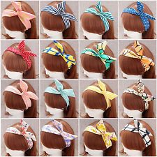 Hot Cute Korea Korean Girls Rabbit Ear Ribbon Chiffon Headband Hair Band WHS306