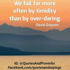 We fail far more often by timidity than by over-daring. -David Grayson  #quotes #sayings #proverbs #thoughtoftheday #quoteoftheday #motivational #inspirational #inspire #motivate #quote #goals #determination #quotesandproverbs #motivationalquotes #inspirationalquotes